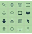 set of 16 internet icons includes pc send data vector image vector image