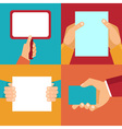 set of hands holding blank documents and signs vector image