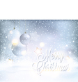 Snowy Merry Christmas background with vector image vector image