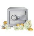 steel safe security concept metal coins vector image
