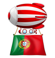The flag of Portugal and the floating balloon vector image vector image