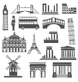 Travel landmark black icons set vector image vector image