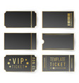 vip ticket template empty black tickets vector image vector image