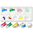 Watercolor set with paints and brush vector image