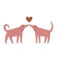 with couple dogs sniffing each other and heart vector image