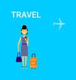 woman traveller with bag young asian female travel vector image