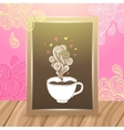 Wood frame on the desk with coffee vector image