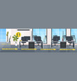 workplace desks with yellow arrows signs vector image vector image