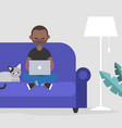 young black freelancer working at home flat vector image vector image