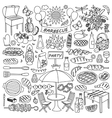 Barbecue party doodle set vector image