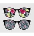 Retro sunglasses with dark flowers reflection vector image
