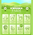 american farm landing for website with bright vector image vector image