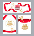 banners set with pictures with red ribbons for vector image