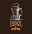 beer mug filled with vintage vector image vector image