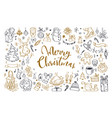 big set of christmas design doodle elements 2 vector image vector image