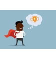 Black businessman hero dreaming about victory vector image vector image