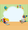 border template with kids reading books vector image vector image