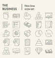 business thin line icon set management symbols vector image