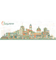 chisinau moldova city skyline with color buildings vector image vector image