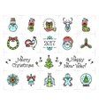 christmas icons set new year isolated symbols vector image