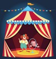 clown showing performance with poodle dog jumping vector image vector image