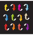 Colorful Arrows Set on Black Background vector image vector image