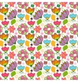 Colorful floral seamless pattern with leaves and vector image vector image
