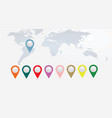 colorful pointers on world map vector image vector image
