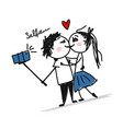couple in love do photos with mobile smart phone vector image