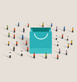 crowd shopping sale paper bag buy gift purchase vector image vector image
