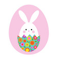 cute easter bunny in hatching floral egg vector image