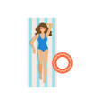 cute woman in blue swimwear and heart sunglasses vector image vector image