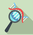 dna under magnify glass icon flat style vector image vector image