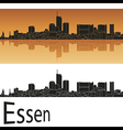 Essen skyline in orange background vector image vector image