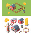 farm buildings isometric set warehouse storing vector image