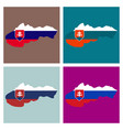flag map of slovakia vector image vector image