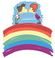 gay couple kissing on abstract rainbow sketch vector image vector image