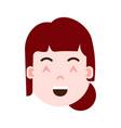 girl head emoji personage icon with facial vector image