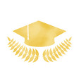 golden graduation cap with laurel wreath vector image