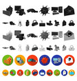 hacker and hacking flat icons in set collection vector image vector image