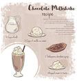 hand drawn of chocolate milkshake recipe with list vector image vector image