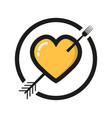 heart logo with a fork on white background vector image vector image