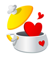 icon pot and heart shape vector image vector image
