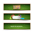 isolated green school banner set vector image vector image