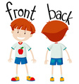 Little boy front and back vector image vector image