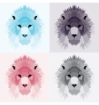 Low poly lions set vector image