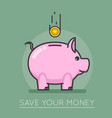 Money saving bank coin pig concept lineart design vector image