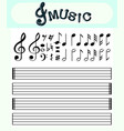 music notes and scale lines template vector image vector image