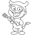 outlined devil kid vector image vector image