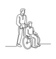 patient on wheelchair continuous line vector image